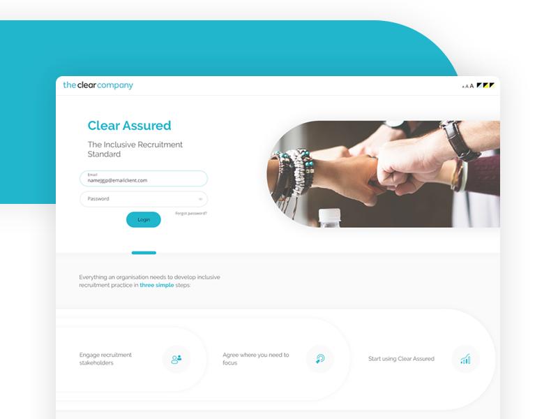 Login landing page inclusive recruitment login screen landing page accessibility app ui