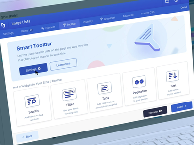 Smart Toolbar analytics interaction clean web design product design filter animation controls slider settings dashboard interface ui intranet