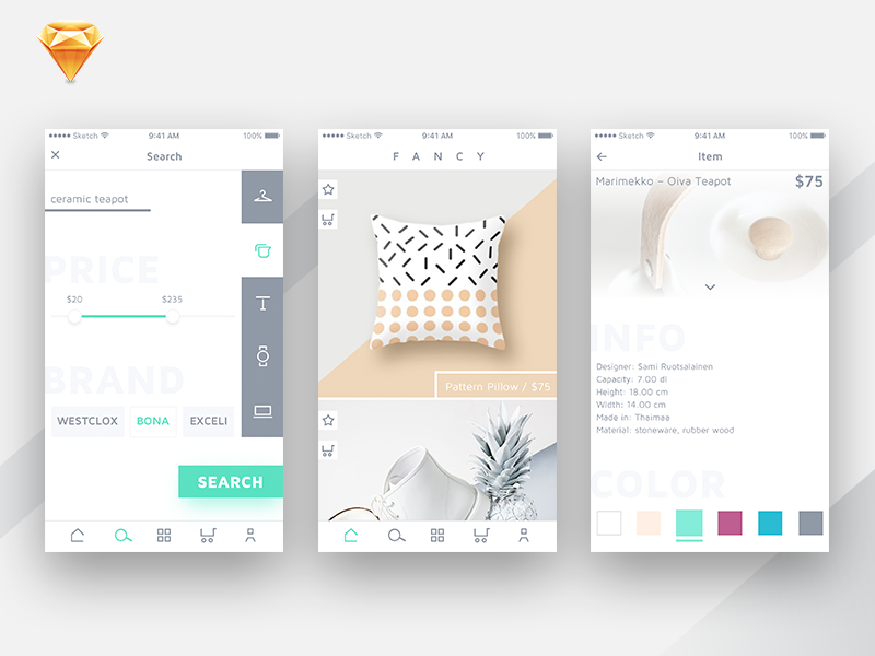 S T I T C H app design concept store ecommerce shop ui ux sketch android mobile ios iphone interface flat clean simple art animation