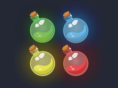 Potions - MEE6 flat illustration item illustration icon icons vector illustrations illustrator design adobe vector illustration graphic design