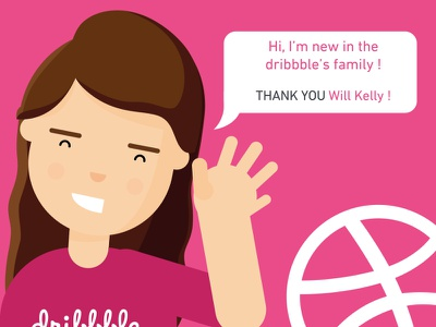 Hi ! I'm new ! debut hello girl illustration character welcome happy dribbble thanks new