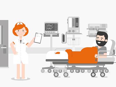 Nurse with patient health flat design motion orange illustration medical hospital patient nurse character