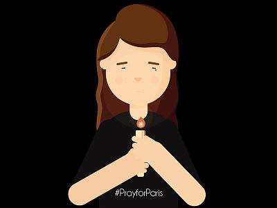 Pray for Paris sadness candle illustration respect tribute attentat attempt black pray paris prayforparis
