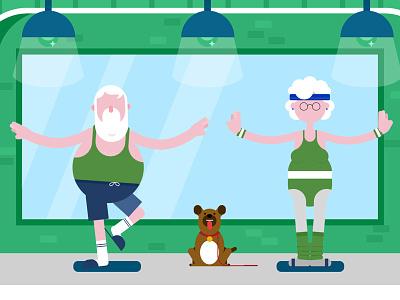 Seniors trying Yoga woman character man retirement sportwear granny grandpa dog sport yoga old seniors