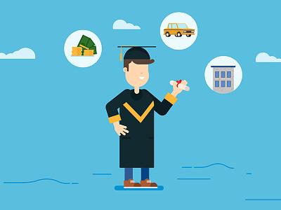 Graduation day money car life work school diploma day man young graduation