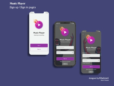 Music Player Sign up / in pages sign up sign in music ui mobile design figma design