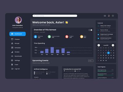 Learning Management System (LMS) Dashboard Dark Mode education website website design figma dark mode dashboard illustration design user interface user experience