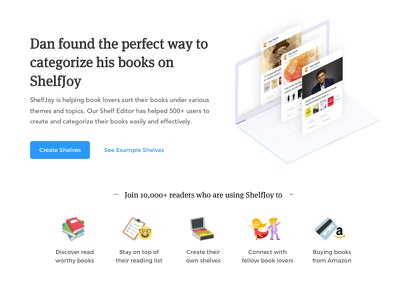 ShelfJoy's landing page based on JTBD framework - Part 5 🖐 📚 book cover categorize category editor jobs landing buy reading amazon shelfjoy shelves