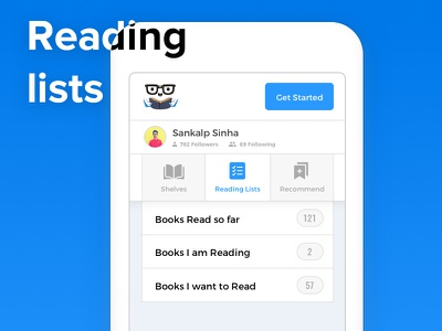 Reading lists interface on ShelfJoy (+ Desktop view) 🖥️📱 user ui shelfjoy shelves shelf recommend reading profile list interface category book