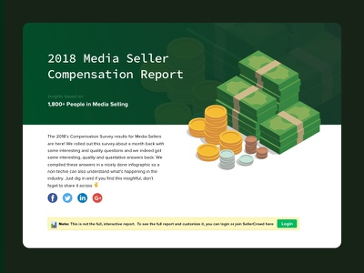 Landing page for Compensation report - SellerCrowd income cash coin money illustraion analytics chart chart analytics report compensation landing page landing