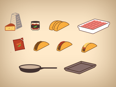 Turkey Taco Icons icons food infographics tacos cooking iconography