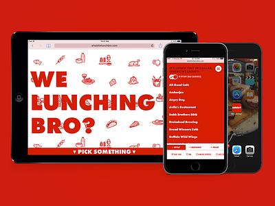 """We Lunching Bro?"" is live! ux ui web design mobile food"