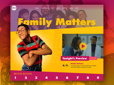 Day 2 - TV Show Landing Page daily design challenge web design landing page family matters shows urkel 90s tv