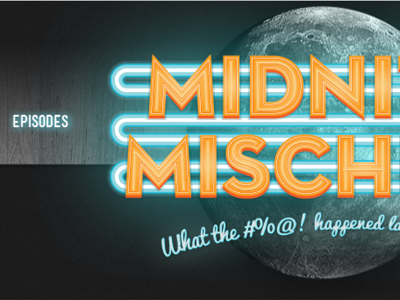 Midnite Mischief Header dark moon typography wood neon texture orange blue podcast web design header
