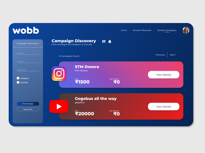 Re-design of influencer marketing website sleek material matte white blue marketing influencer ui minimal app mockup graphic design design branding