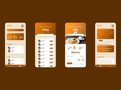 Food Calorie Tracker App brown white orange sleek material fat carb protein calorie food ui minimal app mockup graphic design design branding