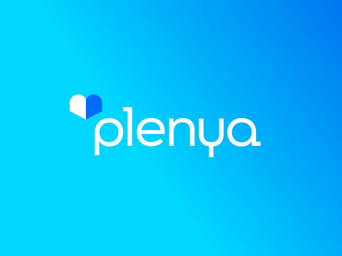 Plenya psychologist online gradient typeface custom app book love heart health hospital insurance life doctor service medical