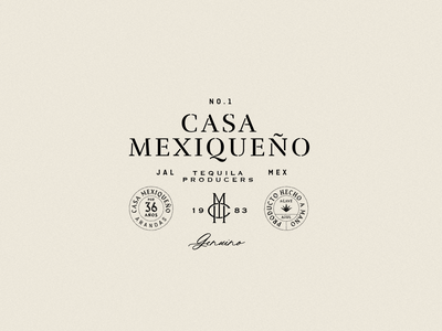 Casa Mexiqueno producers casa mexico beverage spirit maguey bottle logo alcohol agave badge retro vintage classic monogram tequila