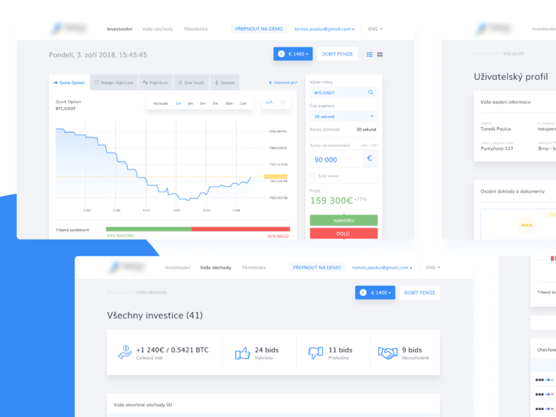 Binary options trading app finance business admin panel ux design crypto wallet crypto trading crypto exchange crypto currency block chain uidesign ux ui admin dashboard redesign trading