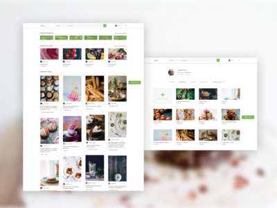 Food blog: Search results and user profile food app food landingpage ui redesign concept recipe book recipes recipe redesign