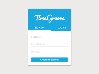 Timegroove Sign Up account ui create register sign up web design design