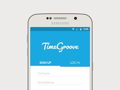TimeGroove Mobile Mockup responsive design s6 log in sign up android material design samsung mockup ui mobile