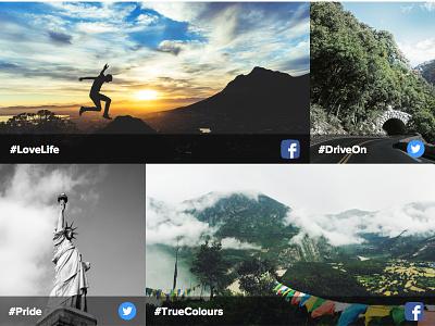Social Media Hub ireland photostory photo twitter facebook design ui landing page social media