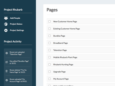 Web App Page List ui web activity interface product dashboard project