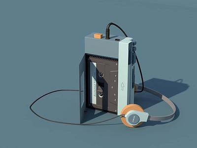 Sony Walkman sound mp3 design 3d animation after effect cinema 3d walkman sony
