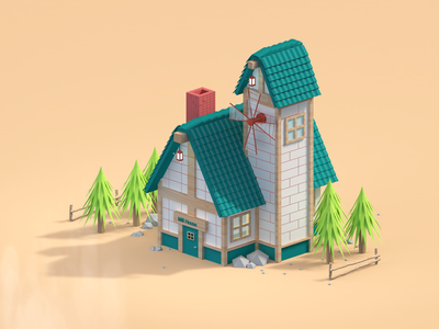 Mill Home design animation building tree 3d animation modelling 3d model 3d modeling 3d home mill