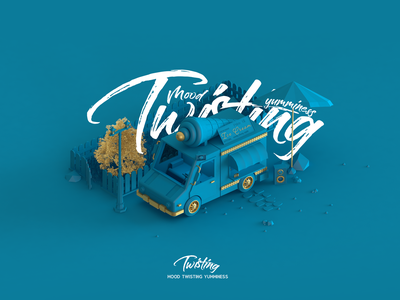 Twisting (Ice Cream Car) poster web emiliance minimalism minimalist minimal 3d animation blue 3d ice cream car icecream car ice cream twisting