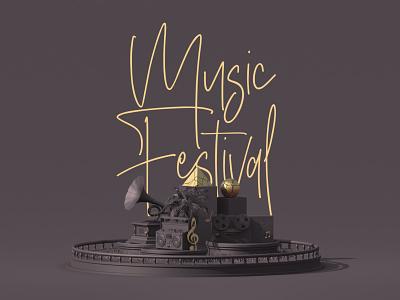 Music Festival minimal poster poster festival poster typography vector illustration rate design cinema 3d animation minimal music