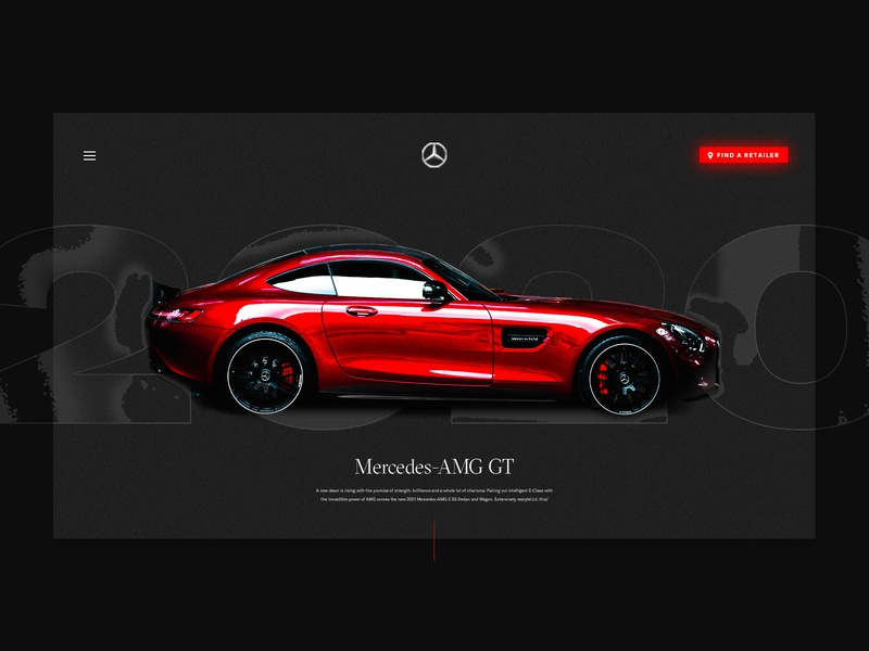 Sports Car UI Concept website desktop design desktop mercedes sportscar car ux ui red