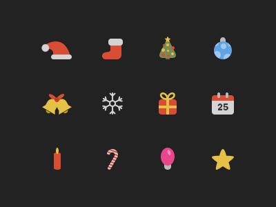 Christmas Icons (Freebie) santa cap sock ball bells snowflake gift calendar candle light star christmas icons psd vector freebie png santa clause christmas tree candy cane