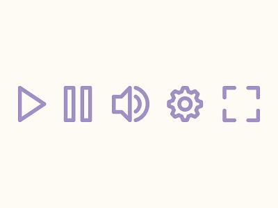 Video Player Ui volume video ui symbol icon line play pause free freebie ai vector
