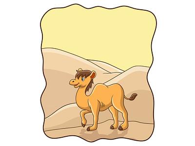 Cartoon illustration camel walking in the desert smile
