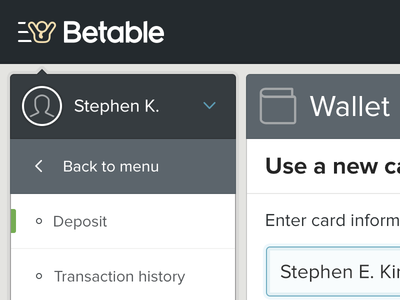 Wallet menu betable gaming