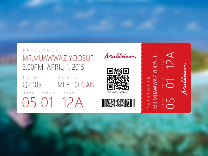 Maldivian.aero Boarding pass Front maldivian maldives design ticket paradise boarding pass