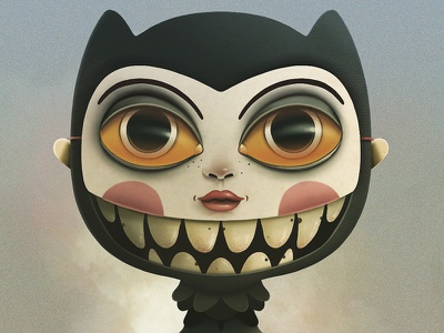 Mask Doll portrait eyes cartoon procreate app texture illustration