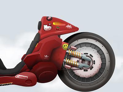 Kaneda´s bike 02. Akira color anime motorbike motorcycle bike manga akira