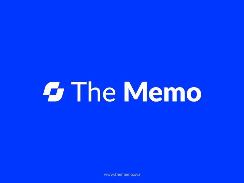 The Memo - Logo wordmark blue branding logo