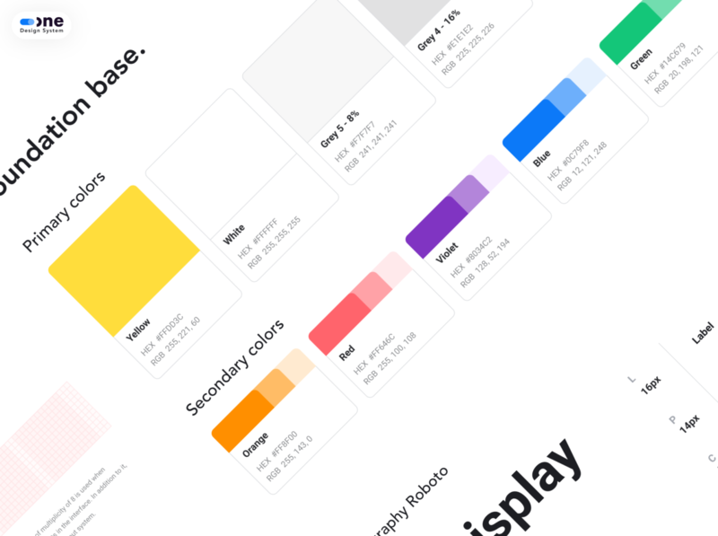 One DS - Foundation Base guideline web ux ui typography colors uikit ds design system foundation base