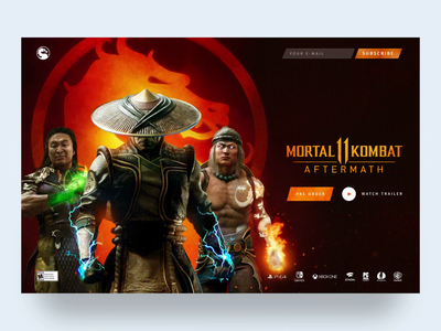 Mortal Kombat 11 | Pre-order Website Landing page. game website website design motion web design clean web interaction design concept mortal kombat game landing page ux ui animation webdesign website