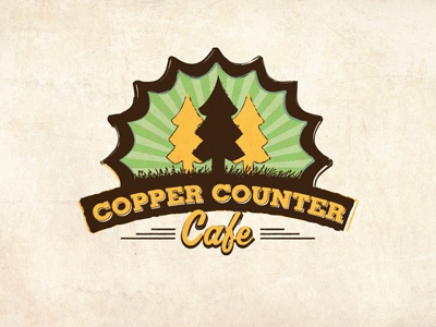 Copper Counter Logo logo cafe typography trees