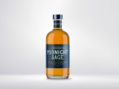 Midnight Sage Whiskey graphic design packaging whiskey and branding logo design brand identity design label design brand naming branding alcohol branding alcohol beverage cpg product mockup packaging design whiskey