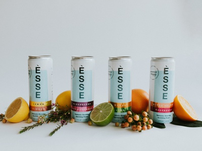 ESSE Sparkling Water retail beverage logo design typography sparkling water water branding drink branding beverage branding food and beverage print design graphic design visual identity brand identity design branding packaging design label design can design