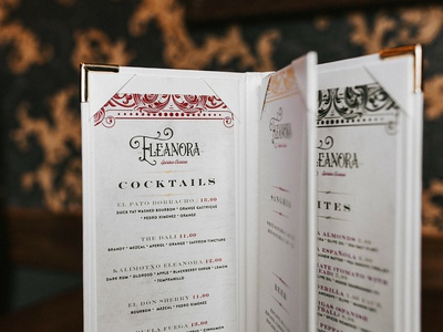 Eleanora Menu design studio brand studio brand assets restaurant flyer restaurant design vintage speak easy bar circus logo design visual identity brand identity food branding menu design restaurant logo restaurant branding