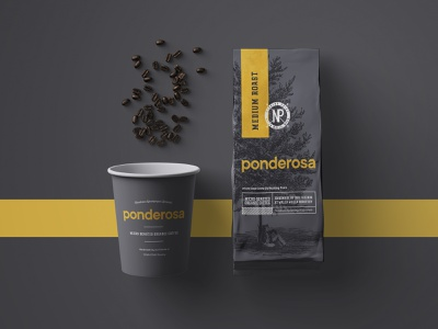 Ponderosa Coffee design agency beverage branding food and beverage restaurant design restaurant branding coffee branding coffee logo logo design visual identity product mockup packaging design brand identity branding coffee