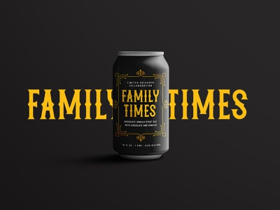 Family Times Stout Label typography graphic design family beverage design beverage ale stout brewery logo logo design visual identity brand identity beer branding packaging mockup mockup label design packaging design beer label brewery