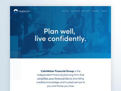 CalmWater Website insurance investment money finances brand design brand messaging copywriting financial logo design brand identity branding web designer ux design ui design visual design web design